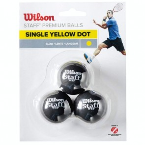 WILSON STAFF (YELLOW DOT) SQUASH BALLS