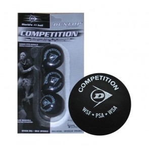 DUNLOP COMPETITION (YELLOW DOT) SQUASH BALLS (X3)